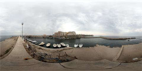 Gallipoli Porto del Lazzaretto con panoramica a 360°