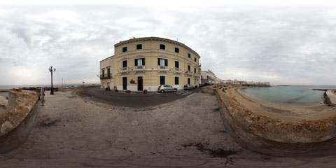Gallipoli veduta dall'alto delle Mura del Seno della Purità con panoramica a 360°